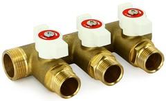 Распределительный коллектор для водоснабжения UNI-FITT НВ 3/4' 2х1/2' Н 40мм с кранами ( 420G3220 )
