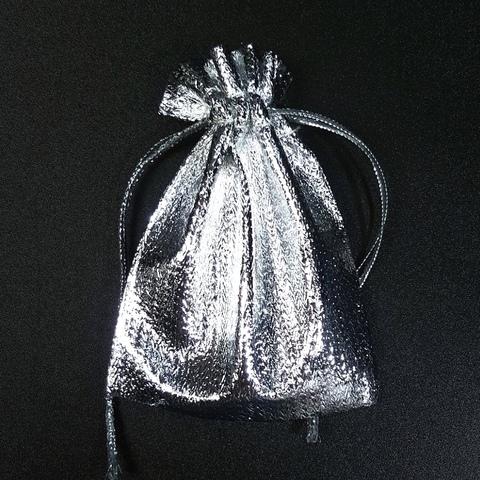 Мешочек для украшений 9х6,7 см серебряный