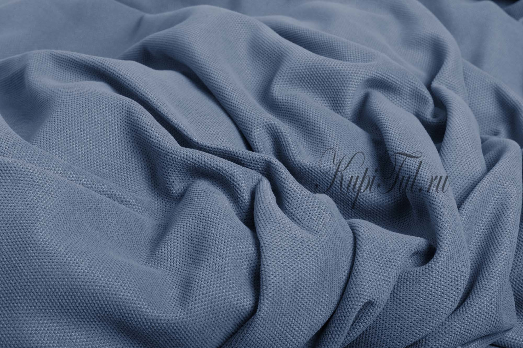 Длинные шторы. Kadife (светло-синий). Стриженный бархат.