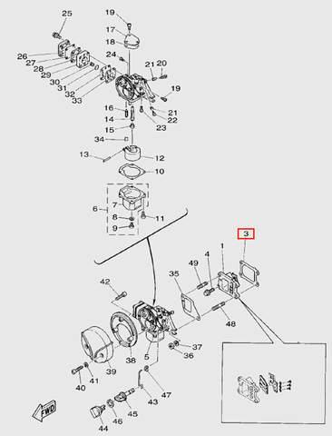 Прокладка выпускных клапанов  для лодочного мотора T5 Sea-PRO (3-3)