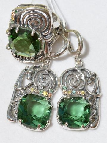 Диона (кольцо + серьги из серебра)