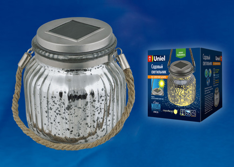 USL-M-211/GN120 SILVER JAR Садовый светильник на солнечной батарее. Теплый белый свет. 1*АА Ni-Mh аккумулятор в/к. IP44. TM Uniel.