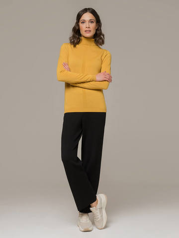 Женский джемпер желтого цвета из шерсти и шелка - фото 4