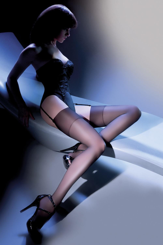 Черные чулки Cher (Чулки под пояс)