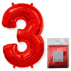 F Цифра, 3 Красный, 40''/102 см, 1 шт. в упаковке