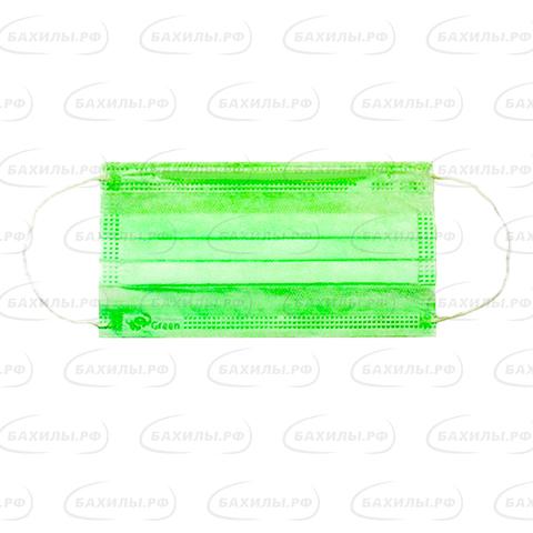 Маска медицинская 3-х слойная на резинках одноразовая (1уп - 50шт) зеленые