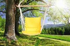 Гамак кресло из льна с поролоновыми вставками желтый RGK4JELT