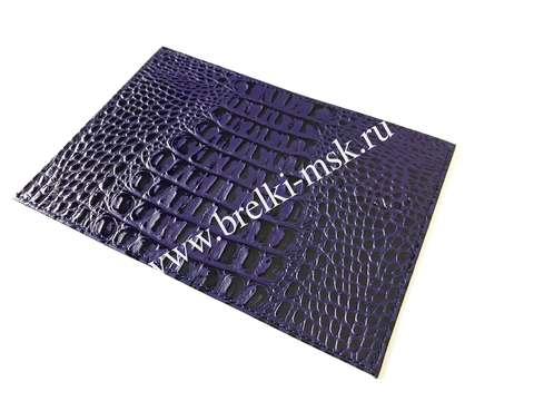 Обложка для паспорта из натуральной кожи крокодила. Цвет Сиреневый
