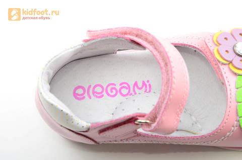 Босоножки ELEGAMI (Элегами) из натуральной кожи для девочек, цвет розовый. Изображение 12 из 12.