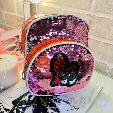Рюкзак-сумка коралловый малиновый Трансформер с нашивкой в пайетках Розовый-Серебристый