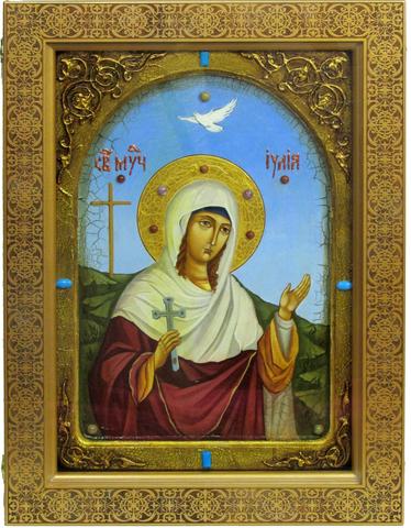 Большая Живописная икона Святая мученица Иулия (Юлия) Карфагенская 42х29см на кипарисе в березовом киоте