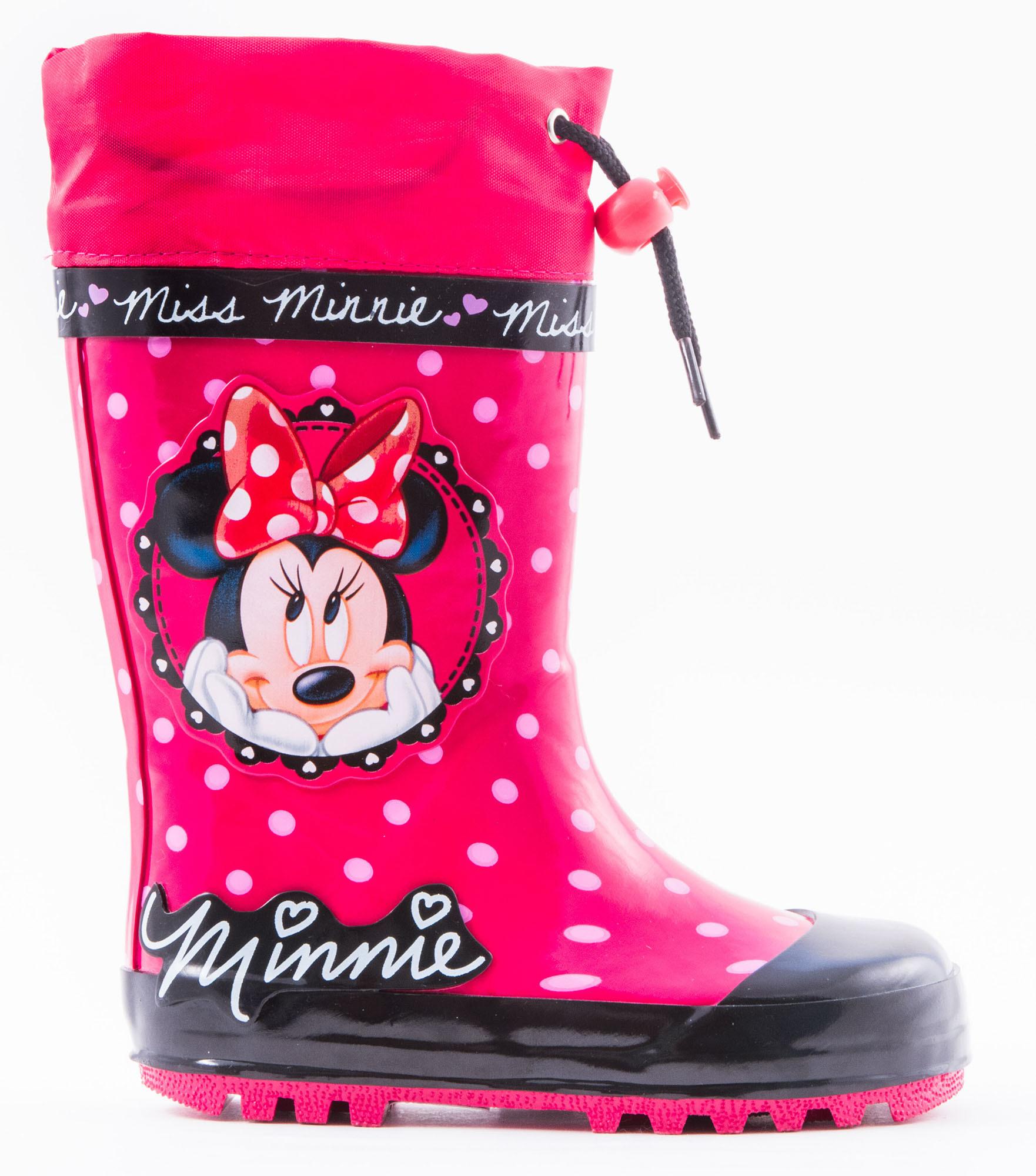 Резиновые сапоги Минни Маус (Minnie Mouse) утепленные для девочек, цвет красный