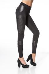 Фантазийные черные легинсы с кожаными вставками