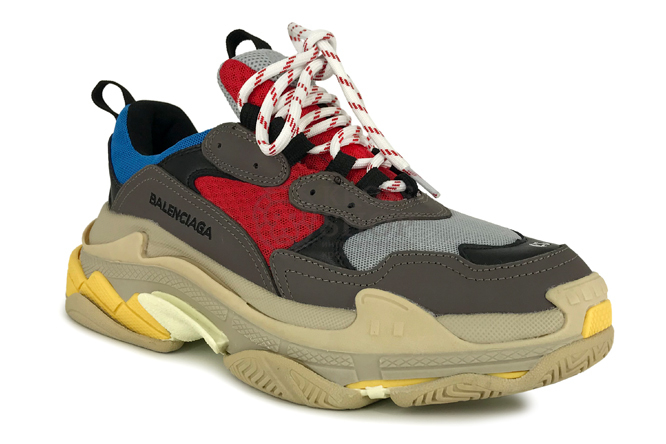 Balenciaga Men's Triple S White/Grey/Red/Blue