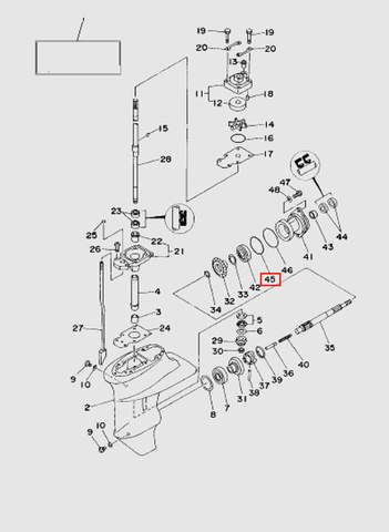 Кольцо малое стакана редуктора  для лодочного мотора T15, OTH 9,9 SEA-PRO (16-45)