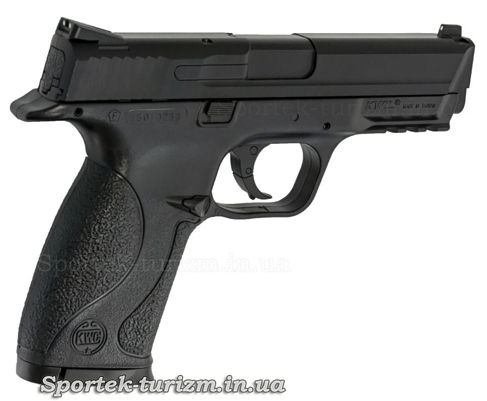 Вид справа на газобалонный пневматический пистолет SAS MP-40 калибра 4,5 мм