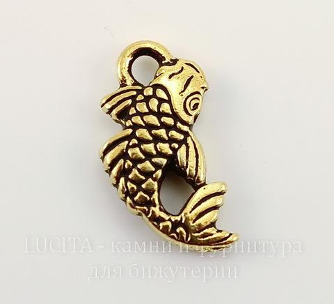 "Подвеска TierraCast ""Рыба"" (цвет-античное золото) 18х10 мм"