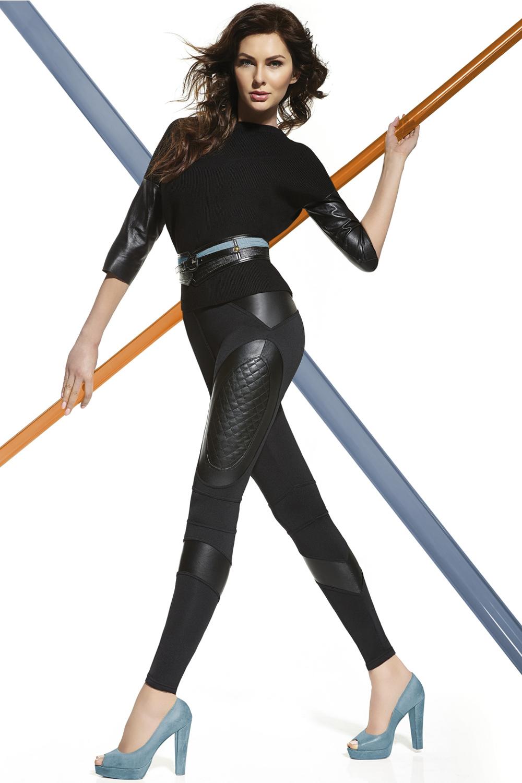 Фантазийные черные легинсы с кожаными вставками (Легинсы)