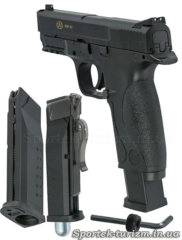 Вид сзади и магазин пневматического пистолета SAS MP-40 калибра 4,5 мм