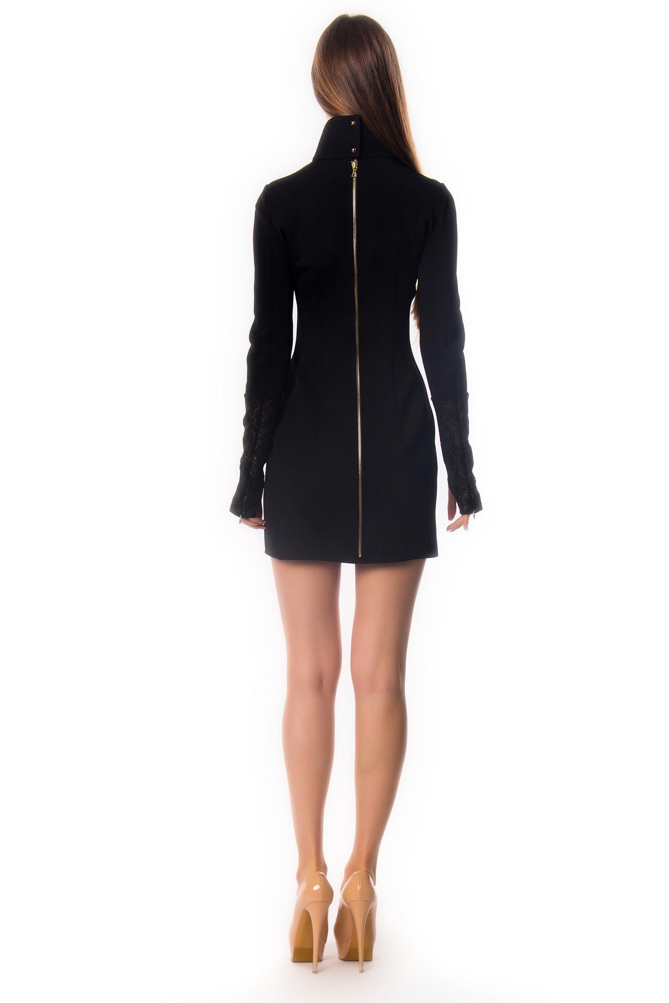 Черное мини-платье с тремя молниями, декорированное кожаными вставками и вышивкой