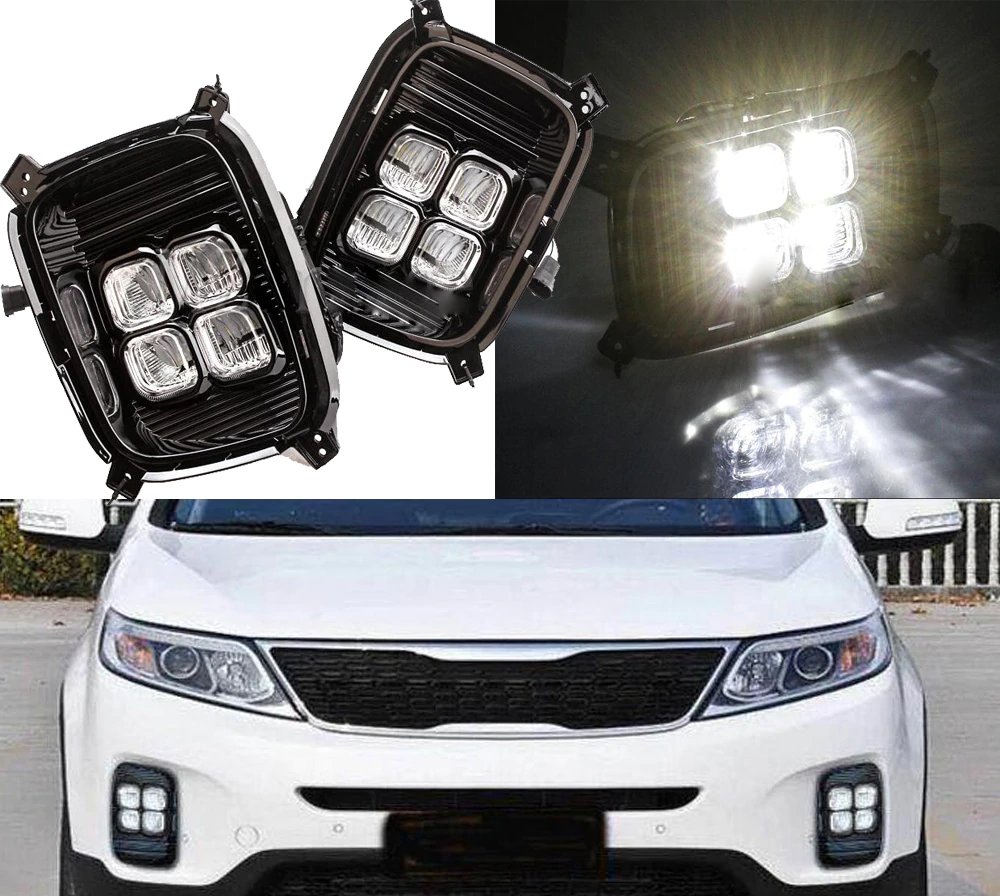 Дневные ходовые огни, диодные CNH для KIA Sorento 2015 - free shipping 12v 6000k led drl daytime running light for kia sorento 2015 2016 fog lamp frame fog light car styling