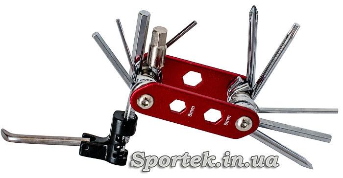 Мультитул велосипедный 15 в 1 расрытый, набор велосипедных шестигранников, выжимка цепи, ключ для бортировки колес