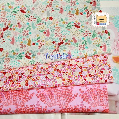 Набор тканей для пэчворка 51746 Мелкие розовые зайцы (45х35см/3шт.)