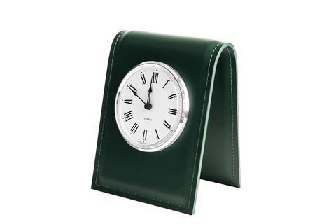 Часы на подставке из кожи цвет ЗЕЛЕНЫЙ