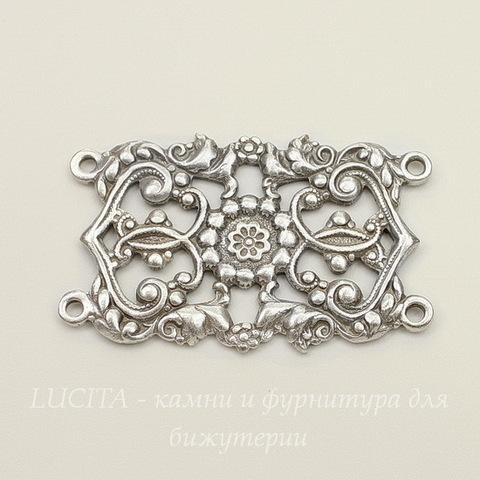 Винтажный декоративный элемент - коннектор (2-2) 42х26 мм (оксид серебра) (светлые)