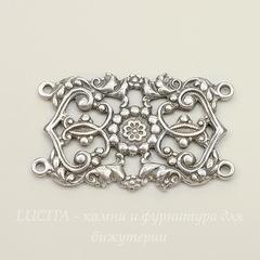 Винтажный декоративный элемент - коннектор (2-2) 42х26 мм (оксид серебра)