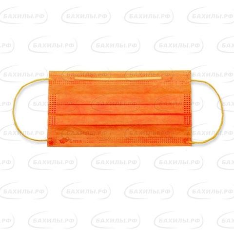 Маска медицинская 3-х слойная на резинках одноразовая (1уп - 50шт) оранжевые