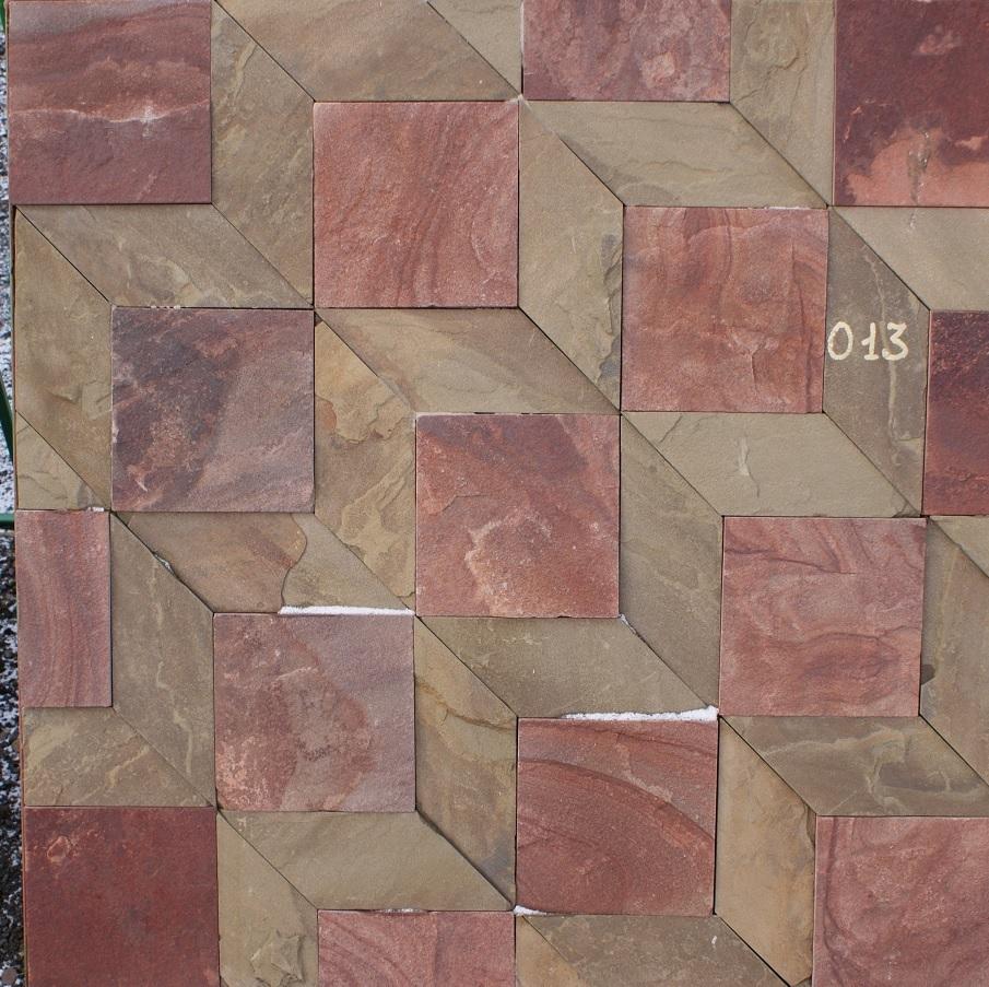 набор плитки песчаник пиленный Кубы, образец кладки