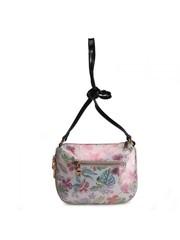 Кожаная сумка-мессенджер с цветочным принтом