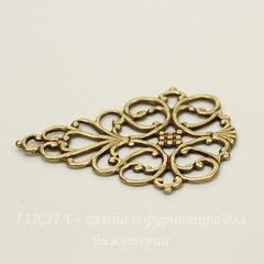 Винтажный декоративный элемент - филигрань 33х27 мм (оксид латуни)