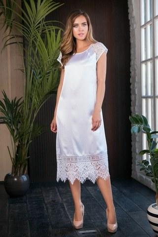 Длинное ночное платье с кружевами Evelin (BS) белое