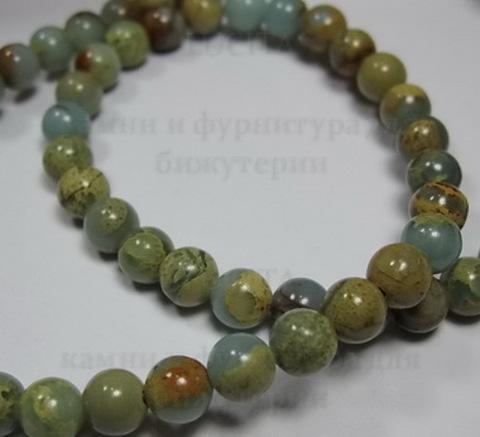 Бусина Яшма, шарик, цвет - многоцветный, 6 мм, нить ()
