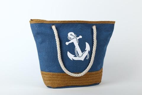 Пляжная сумка с якорем (синяя)