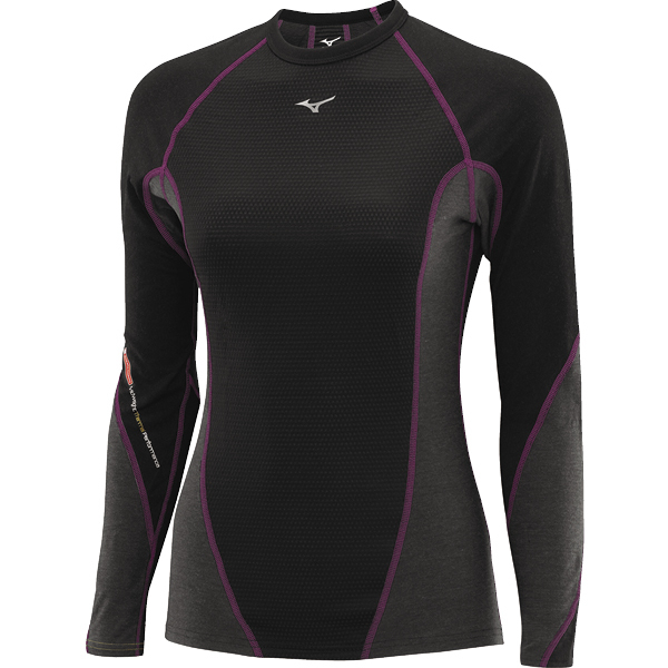 Женское термобелье рубашка Mizuno Virtual Body Crew black|grey (73CL041 86)
