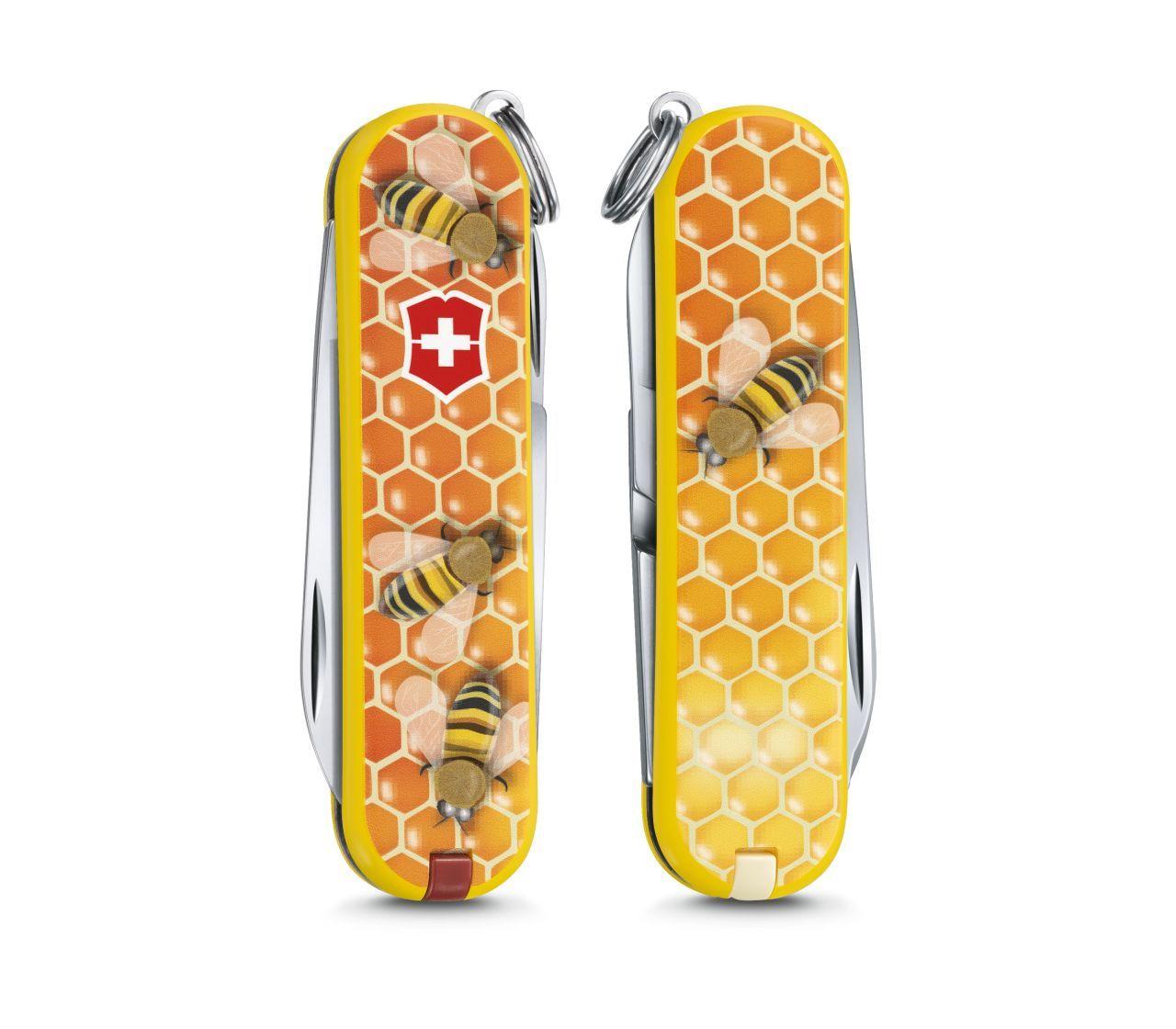 "Нож-брелок Victorinox Classic, 58 мм, 7 функ, ""Honey Bee""  (0.6223.L1702)"
