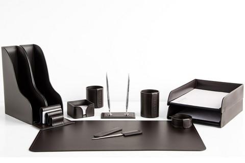 Набор на стол руководителя 1532-СТ кожа цвета шоколад.