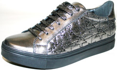 Кеды кроссовки серебристые женские