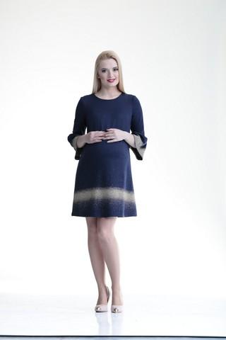 Платье для беременных 08785 синий-золото