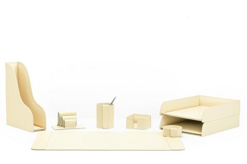 Настольный набор 8 предметов из кожи Treccia/слоновая кость