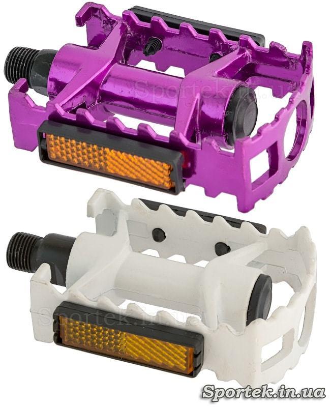 Велосипедные педали (плоские, прогулочные) из алюминия белые и фиолетовые
