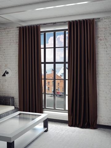 Готовые шторы Твила коричневый