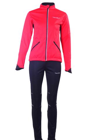 Nordski Premium женский разминочный лыжный костюм красный