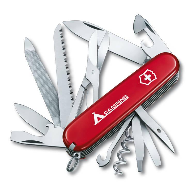 """Нож Victorinox Ranger, 91 мм, 21 функция, красный с логотипом """"camping"""""""