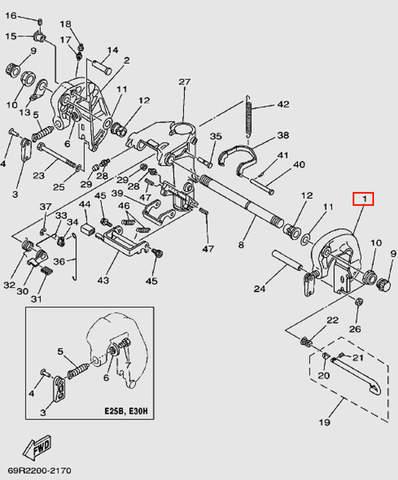 Скоба струбцины левая для лодочного мотора Т30 Sea-PRO (14-1)