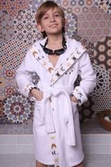 Puppy белый махровый халат для мальчика  с капюшоном Five Wien Турция