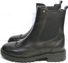 Ботинки на толстой подошве женские Jina 7113 Leather Black.